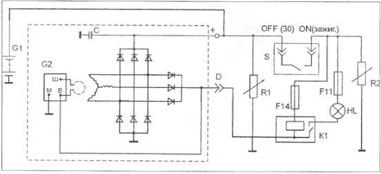 Схема подключения генератора: