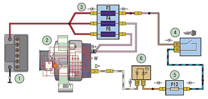 Схема соединений генератора: 1