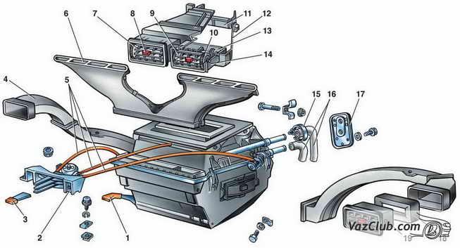 Снятие и установка отопителя