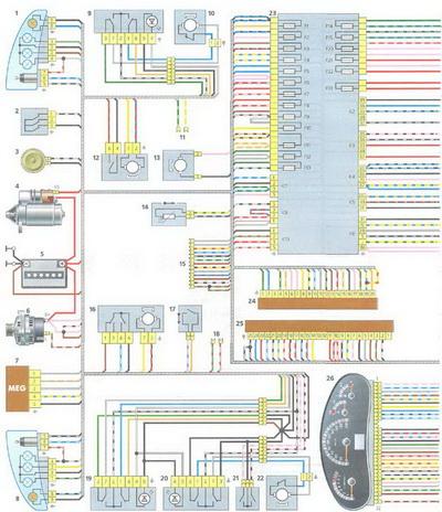 Схема жгута переднего