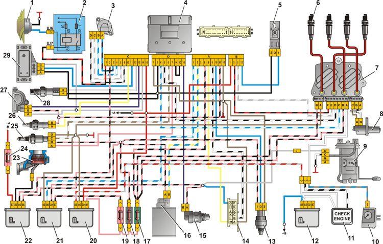 Схема системы впрыска ВАЗ
