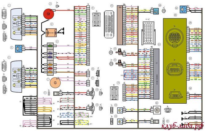 Электрическая схема переднего