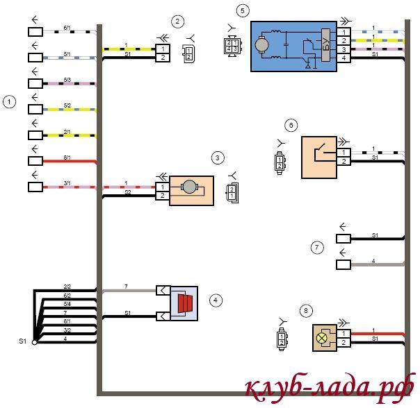 Схема жгута проводов задней