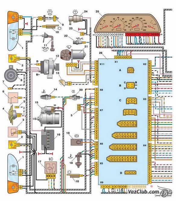 Схема проводов и