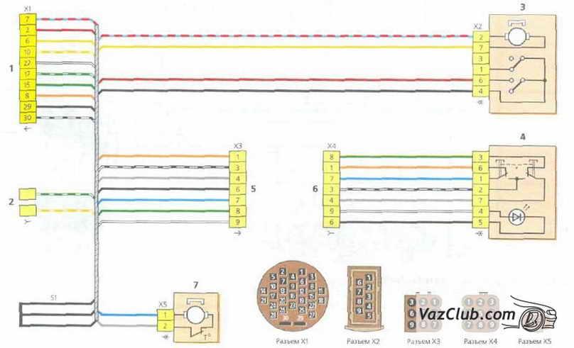Схема соединений жгута