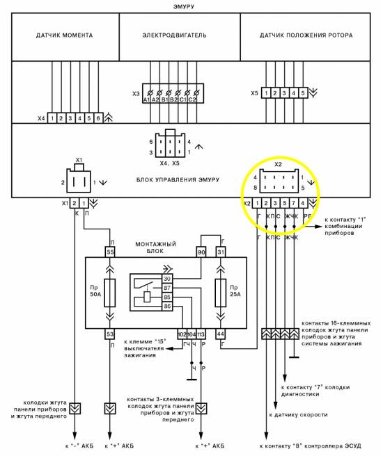 схема соединений ЭМУР калина