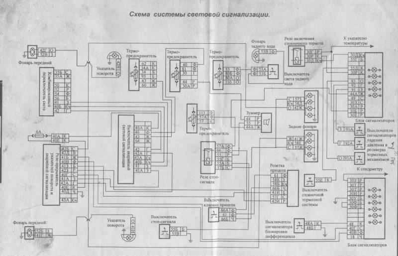 Электросхема систем световой