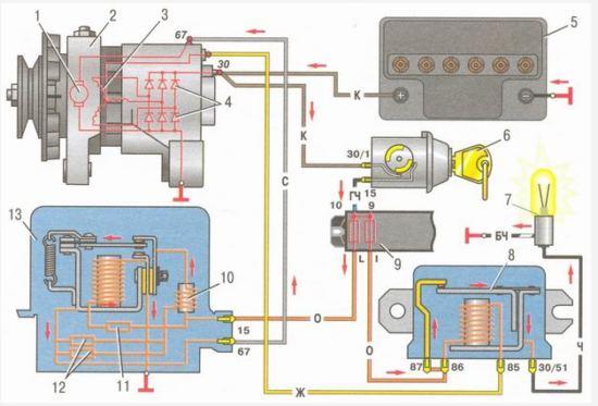 Схема системы генератора ВАЗ