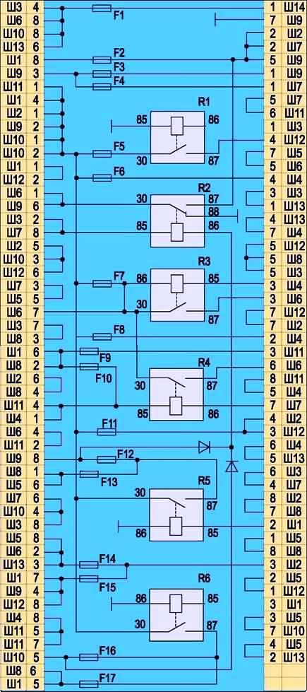 Схема соединений блока реле и
