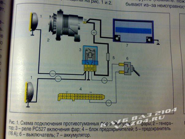 Схему подключения противотуманок на ваз 2101